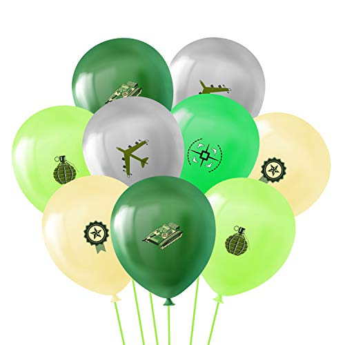 BeYumi 50Pcs Camouflage Latex Balloons, 12Inch Assorted Color Army Military Balloons Bouquet with Ribbons, Military Themed Party Supplies Decorations for Boy's Birthday Party, Veterans Day Celebration