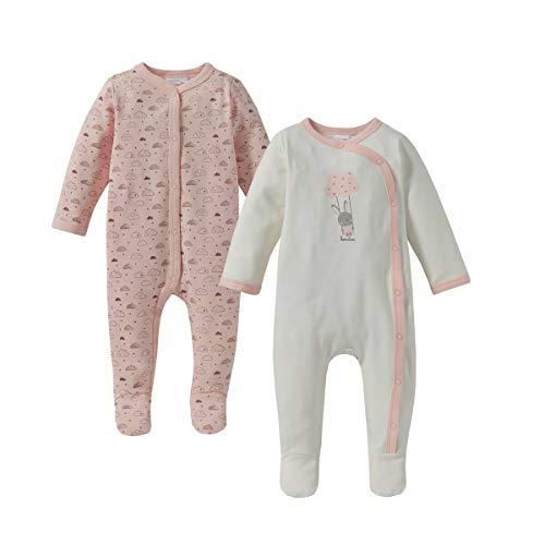 Bornino Basics Schlafoverall (2er-Pack) - Einteiler für die Nacht - Nachtwäsche für Babys - Schlaf-Strampler mit Füßchen & Druckknopfleiste