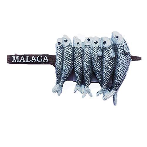 Imán de nevera 3D Specialty Snacks Peces de Málaga España Imán de recuerdo Colección Regalo Decoración Hogar & Cocina Pegatina Magnética Málaga España Nevera Imán