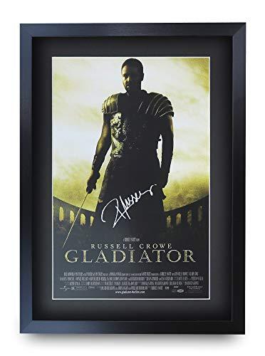 HWC Trading Gladiator A3 Enmarcado Regalo De Visualización De Fotos De Impresión De Imagen Impresa Autógrafo Firmado por Russell Crowe Los Aficionados Al Cine