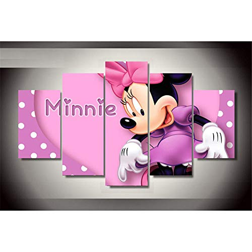 Proxiceen Hermosa princesa rosa Minnies lienzo póster decorativo dormitorio y salón (Unframed,30 x 40 cm x 2 + 30 x 60 cm x 2 + 30 x 80 cm)