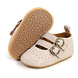 Timatego Infant Baby Girl Mary Jane Flats with Bownot Non Slip Soft Sole Newborn Toddler First Walker Wedding Princess Dress Shoes (6-12 monthst Infant 10 Apricot)