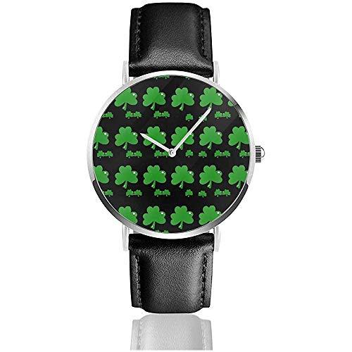 Green Lucky Clover Sport Watch Pu Cinturino in pelle al quarzo Orologi da polso in acciaio inossidabile Affari impermeabili classici per uomo Donna