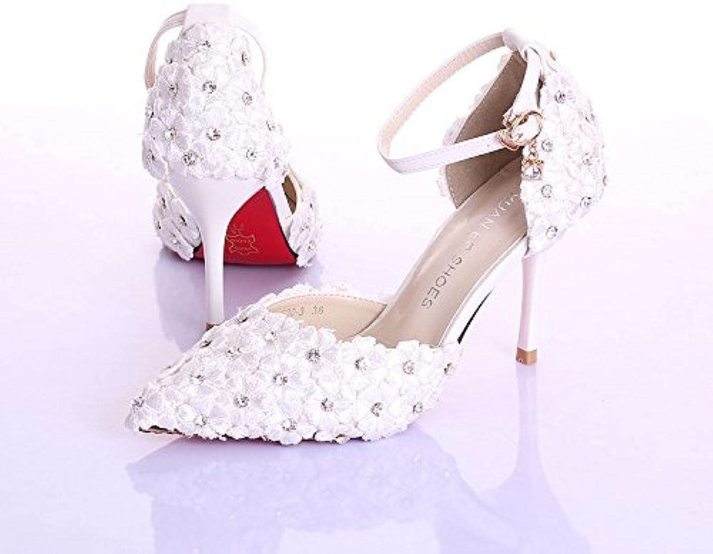 SISHUINIANHUA Hochzeitsschuhe der Frauen Brautjungfer und Braut Strass   Blaume Stilett Ferse Spitzzehe   Sandalen mit hohen Abstzen wei