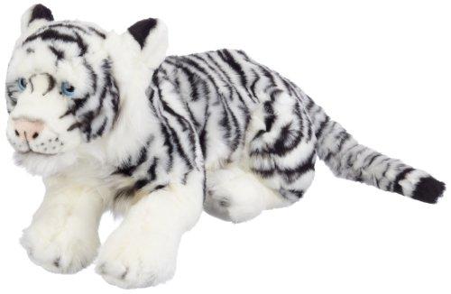 """Bauer Spielwaren \""""Blickfänger\"""" Jaquard Sibirischer Tiger liegend Plüschtier: Naturgetreues Kuscheltier, extraweich, ideal auch als Geschenk, 46 cm, weiß-schwarz (14106)"""