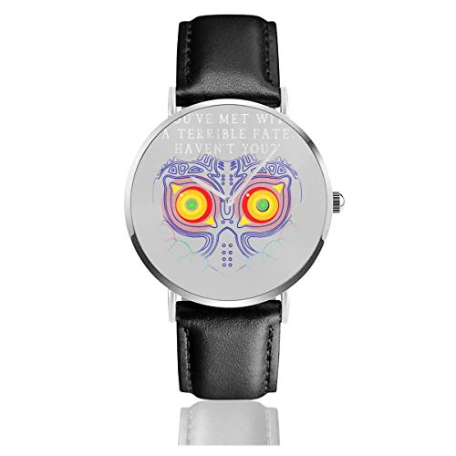 Unisex Business Casual Youve Met with A Terrible Fate Havent You Legend of Zelda Majoras Mask Watches Quartz Leather Watch with Black Leather Band for Men Women Young Collection Gift