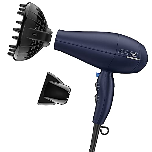 INFINITIPRO BY CONAIR 1875 Watt Texture Styling Hair Dryer for Natural Curls and Waves, Dark Blue, 1 Count