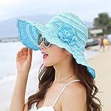 UKKO Sombrero Paja Damas Al Aire Libre del Sombrero del Sol Plegables Amplia Reversible Filo De La Pala Compactables Floppy Sombreros De Sun,Cielo Azul