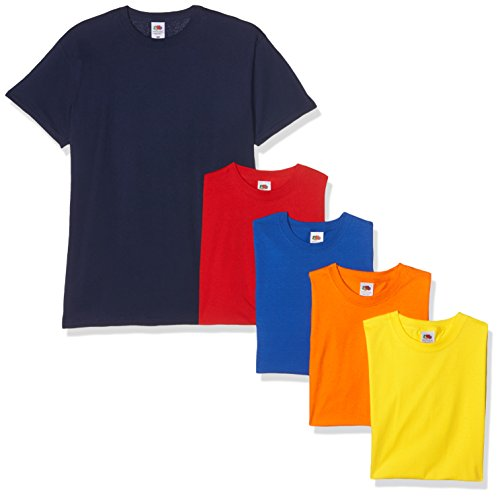 Fruit of the Loom Valueweight Short Sleeve Camiseta, Azul Marino/Rojo/Naranja/Real/Amarillo, XXL (Pack de 5) para Hombre