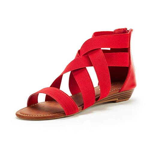 DREAM PAIRS Women's Elastica8 Red Elastic Ankle Strap Low Wedges Sandals Size 7.5 M US