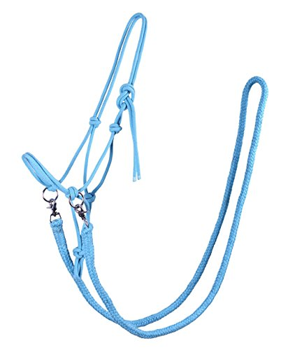 Knotenhalfter mit Zügel Halfter Reithalfter Arbeitshalfter QHP 7 Farben und 4 Größen (pony, hellblau)