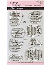 Stamp Simply Clear Stamps Fear Not Encouraging Words Christian Religious 4x6 Inch Sheet - 8 Pieces