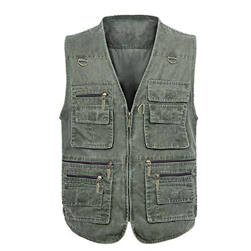 GL SUIT Mannen Multi-Pockets Vest Denim V-hals Gilet Lente en Herfst Outdoor Casual Waistcoat Mouwloos Jas voor Vissen Camping Reizen