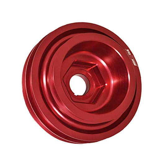 Compatible/Replacement For Honda Civic/Integra (B16/B18/B20 DOHC Engine Only) Under Drive Crank Shaft Case Harmonic Balancer Pulley Red