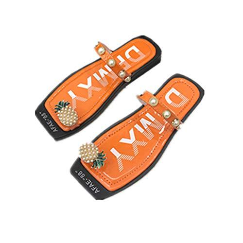 Encoco Damen-Sandalen mit Ananasperlen, Zehenring, Flip-Flops, Boho, flach, quadratisch, Strandschuhe, Orange - Orange - Größe: 37.5 EU