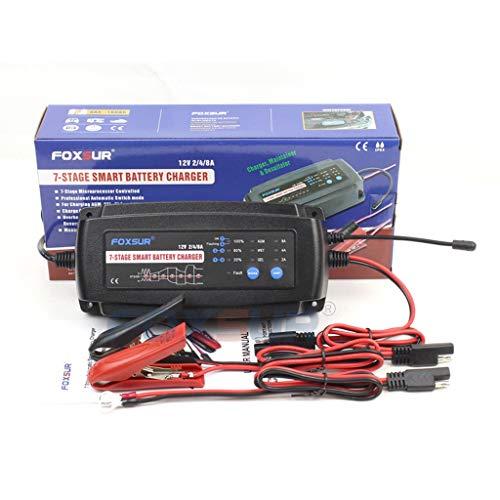 WNLWML oplader auto-accu, 12 V, 2 A, 4 A, 8 A, 7-segment, Smart Car oplader met optionele accu-type en stroom voor het laden, onderhoud en reparatie van auto's en motorfietsaccu's (maat: UK)