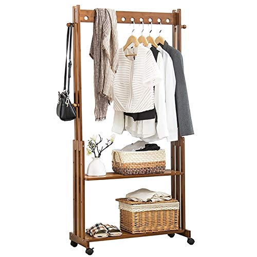 JHYMJ Clothes Stand,Coat Rail With Independent Hanging Hole/Double-layer Storage Rack,Movable Coat Rack For Coat/hat/scarves/Suitcases/Plants/shoes In Hallway/living Room/Bedroom (Size : 60cm)