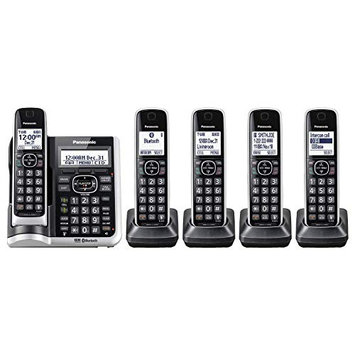 Panasonic Link2Cell Bluetooth Cordless Phone System with HD Audio, Voice Assistant, Smart Call Blocking and Answering Machine, DECT 6.0 Expandable Cordless System, 5 Handsets (Silver) (Renewed)