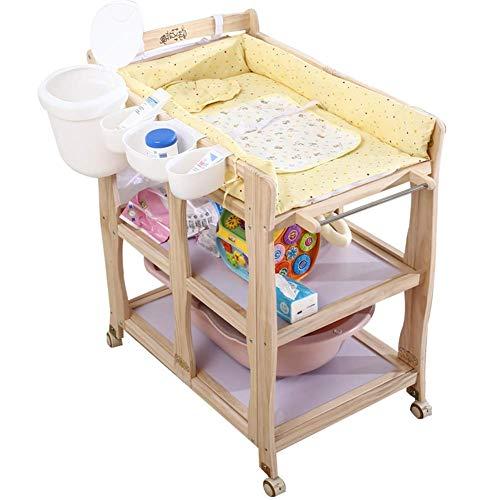 JALAL Klappbarer Wickeltisch mit 2 Ablageflächen und Rädern, Kinder-Hochleistungs-Badewannenstation für Kleinkinder aus kleinem Raum, Belastung 150 kg