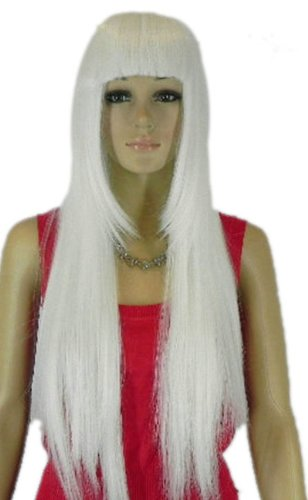 Qiyun Femme Longue Raide Complete Frange Loli Lolita Cosplay Anime Costume Partie Complete Cheveux Perruque - Blanc