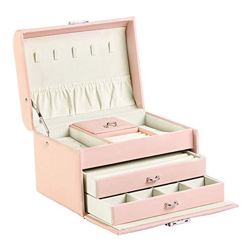 NFRADFM Caja de joyería,Caja de joyería de cuero PU,Organizador de joyas multifuncional,Pendientes collar caja de almacenamiento de joyería