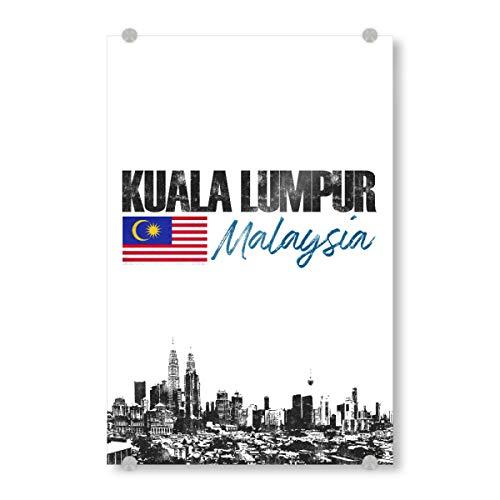 artboxONE Acrylglasbild 120x80 cm Städte Kuala Lumpur minimalistisch - Bild Malaysia City Flagge