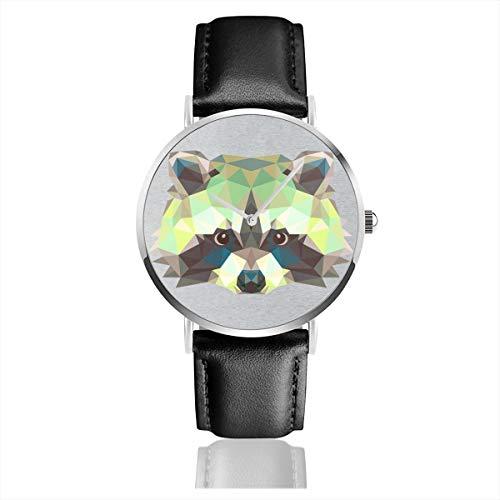 Unisex Business Casual Geometrische Tier Waschbär Uhren Quarz Leder Uhr mit schwarzem Lederband für Männer Frauen Junge Kollektion Geschenk