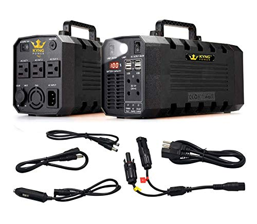 Kyng Power Solar Generator Portable Power Station UPS Battery 500W Continuous 1000W Peak Tradeshow Battery Powered Inverter 12V, 3 AC, 4 USB Outlets Free Solar Panel Cable, Camping, CPAP, Emergency