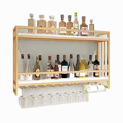 BFDMY Estante para Vino Almacenamiento De Vino, Soporte para Botella De Vino De Metal Montado En La Pared 2 Capas Soporte para Vidrio Dorado
