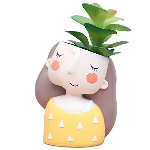DIYOMR Cartoon Girl Flower Succulent Pot Decorative Pot, Resin Plant Pots Succulent Cactus Bonsai Pots Container Creat Design for Home Office Decor (Yellow Dress Girl)