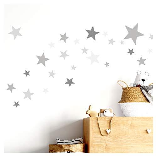 Little Deco Wandtattoo 60 Sterne Kinderzimmer Junge Mädchen Stars I grau I viele Farben Wandaufkleber Wandsticker Set bunt selbstklebend DL409