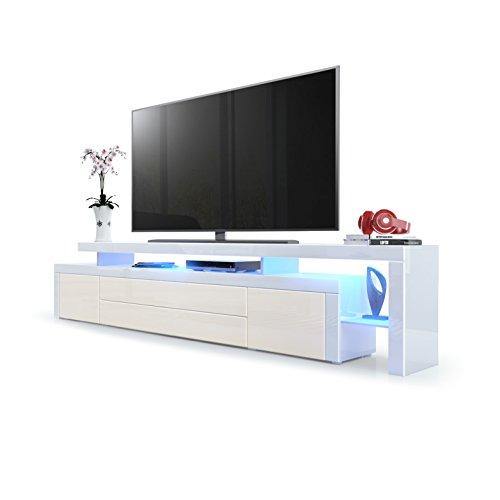 Vladon TV Board Lowboard Leon V3, Korpus und Überbau in Weiß Hochglanz/Front in Creme Hochglanz mit Rahmen in Weiß Hochglanz inkl. LED Beleuchtung