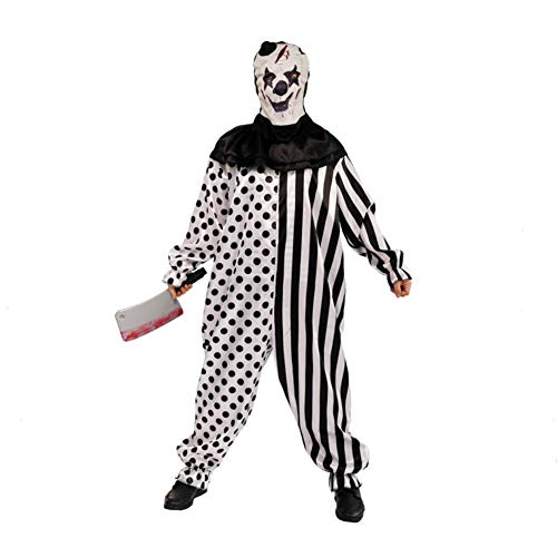Country-living Mens Halloween Clothes Funky Punk Droll Clothes Man's Clown Costume for Festival Black, White, Large