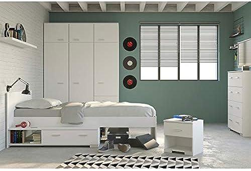 expendio Jugendzimmer Galeno 153B Weiß 4-teilig Stauraumbett Nachttisch Kleiderschrank Schubkastenkommode