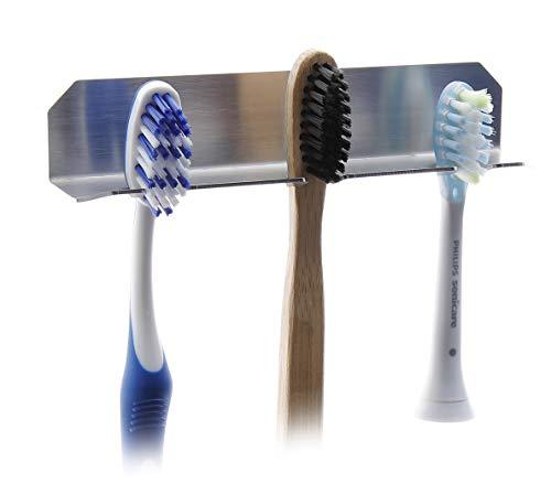 FGE-Line 3er Zahnbürstenhalter aus Edelstahl | selbstklebend & ohne Bohren | Made in Germany