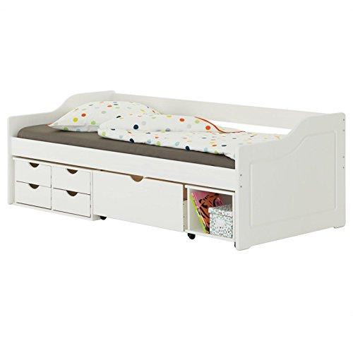 IDIMEX Lit Fonctionnel Senta avec rangements 4 tiroirs 1 Caisson et 1 Niche Ouverte sur roulettes, Couchage 90 x 200 cm, en pin Massif lasuré Blanc