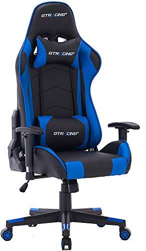 HOGAR24 ES -9222-Azul-Silla de Escritorio GT-Racing/Profesional Gamer/Silla de Oficina Ergonómica G