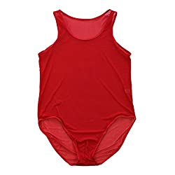 Mens see through bodysuit in red color.