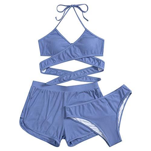 Damen Zweiteiliger Bikini Set Push Up V-Ausschnitt Badeanzug Crossover Schwarz Bikini Oberteil Hose Strandbikini Sportlich Große Größen Bademode für Frauen mit Shorts