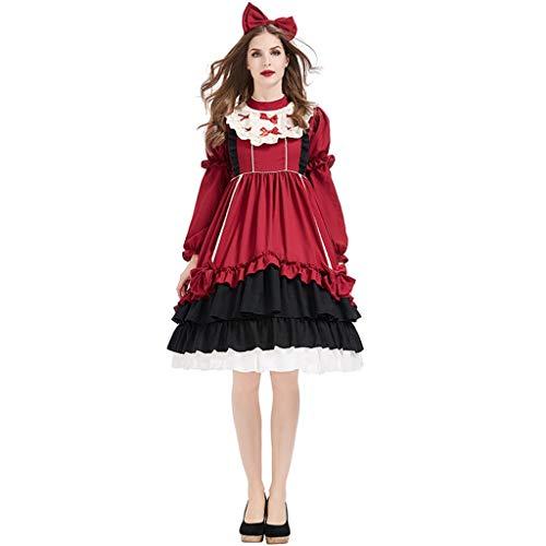 XYF Party Cosplay Kostüm Prinzessinenkleid Halloween Kostüm Damen Weihnachtsfeier Karnevals Cosplay Edel Schön Mädchengeschenk (Color : Red C, Size : L)