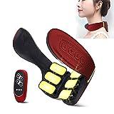 6頭頚椎ショルダーマッサージャー電気パルスホームインテリジェントネックプロテクター、インテリジェント音声リモートコントロールのスタイル,MQing (Color : Red)