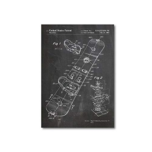 Terilizi Wandkunst Scandinavisch eenvoudig canvas Hd Snowboard Patent Vintage Prints Sneeuw Poster Blaupauze Schilderij Sport Huiscultuur Foto-50X70cm Geen lijst
