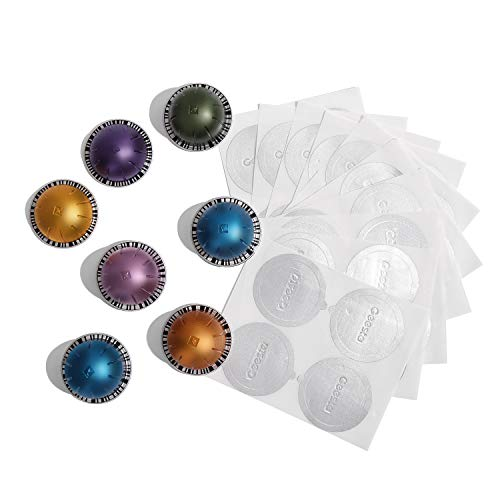 Geesta Reusable Aluminum Foil Seals Lid Compatible with Nespresso Vertuoline Capsule-120 Pcs