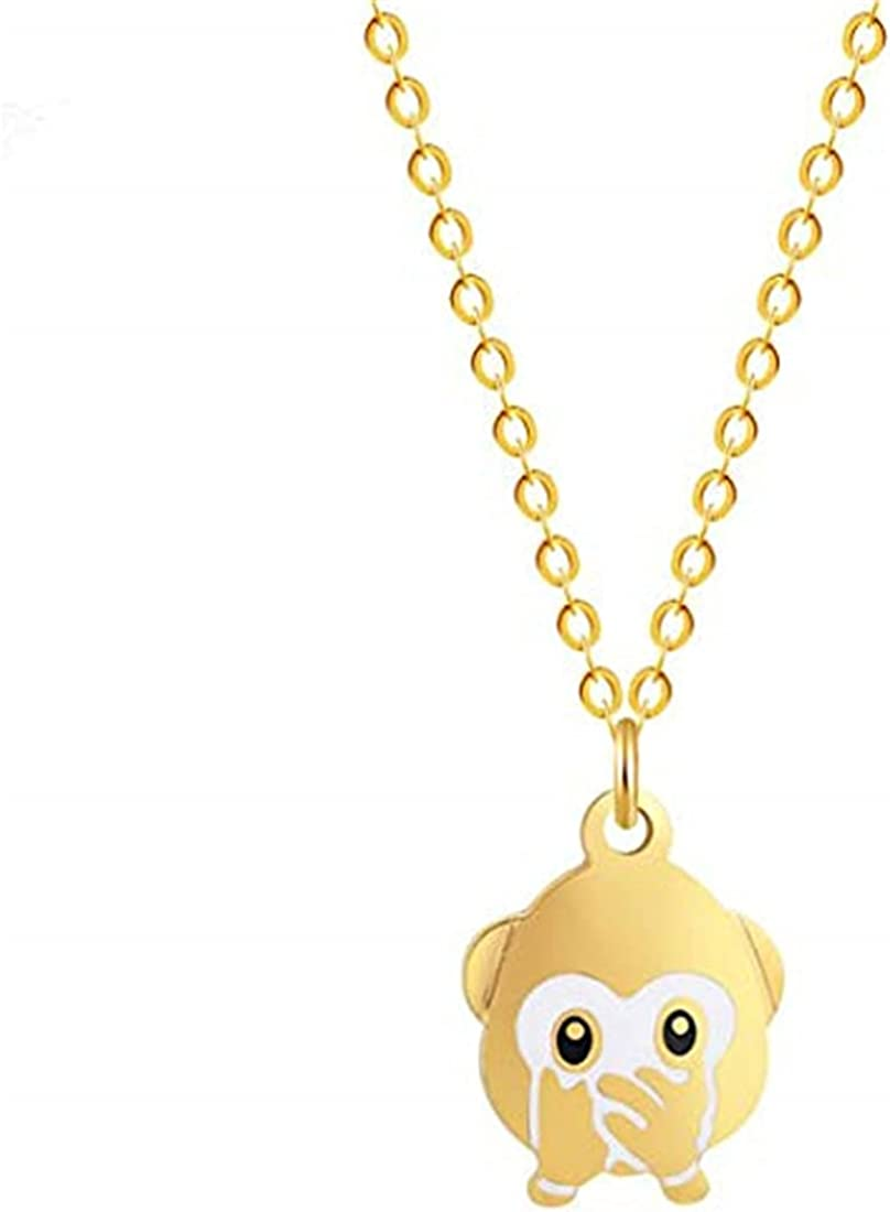 Cute New NEW Free Shipping Monkey Pendant Necklaces Cover One's Emotion Expressi Mouth