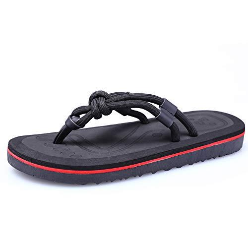 Zomer Nieuwe Heren Flip-Flop Sandalen, Flippers Beach Schoenen Teen Slippers Outdoor Slip Mode Koppels Sandalen en Slippers Persoonlijkheid Party Wandelen Zwart Bruin Geel 5-8.5UK
