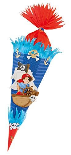 folia 92205/22222 Schultüten Bastelset Pirat, inklusive Schultütenrohling aus 3D Wellpappe ca. 68 cm, Motivbögen und Bastelzubehör, blau