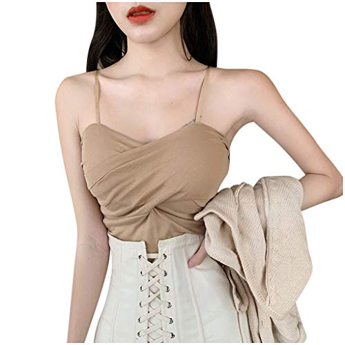 Brizz Dames onderhemd mode vrouwen slim fit V-hals sexy blouses casual mouwloos camis vest solide slanke korte tops dubbelripp spaghetti effen spaghetti drager zonder beugel