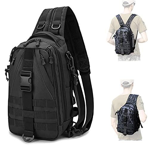 Hopopower Tactical Sling Bag Backpack Outdoor Shoulder Backpack Fishing Bag with Rod Holder, Water-Resistant Fishing Tackle Backpack for Men