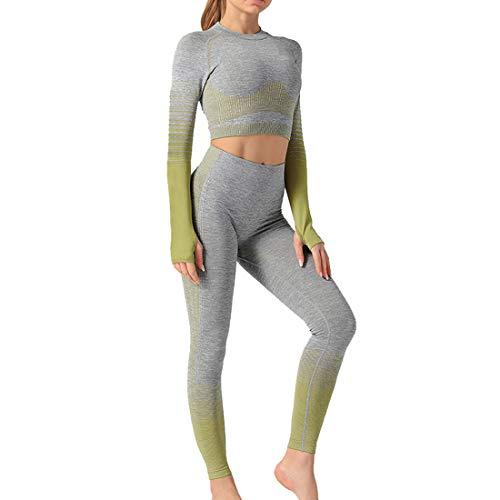 MUYOGRT Damen Sportanzug Jogginganzug Trainingsanzug Sport Sets 2 Stücke Bekleidungssets Yoga Outfit Hosen und Bauchfrei Sweatshirts Freizeitanzug Sportswear(Armee grün,S)