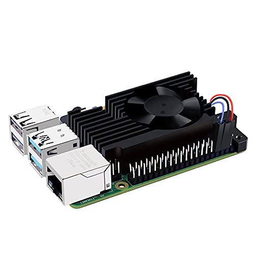 GeeekPi Raspberry Pi 4 disipador de calor de aluminio con ventilador de refrigeración, Raspberry Pi 4 Armor Lite disipador de calor con PWM control de velocidad para Raspberry Pi 4 Modelo B